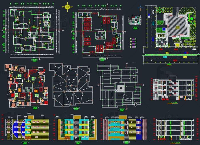 نقشه اتوکد پلان ساختمان مسکونی 4 طبقه با پارکینگ - بتنی