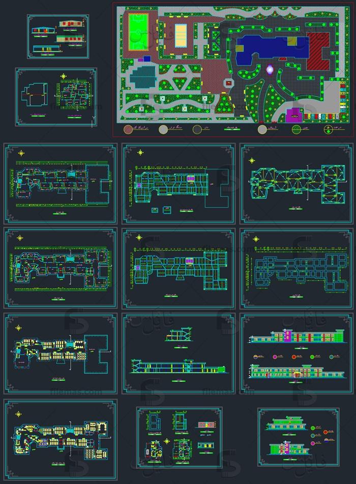 پروژه طراحی پلان دبیرستان 12 کلاسه + نقشه های اتوکد سالن ورزشی و سرایداری