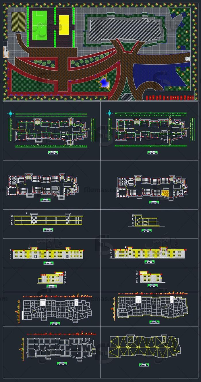 پروژه طراحی مدرسه 12 کلاسه + سایت پلان، نما و برش