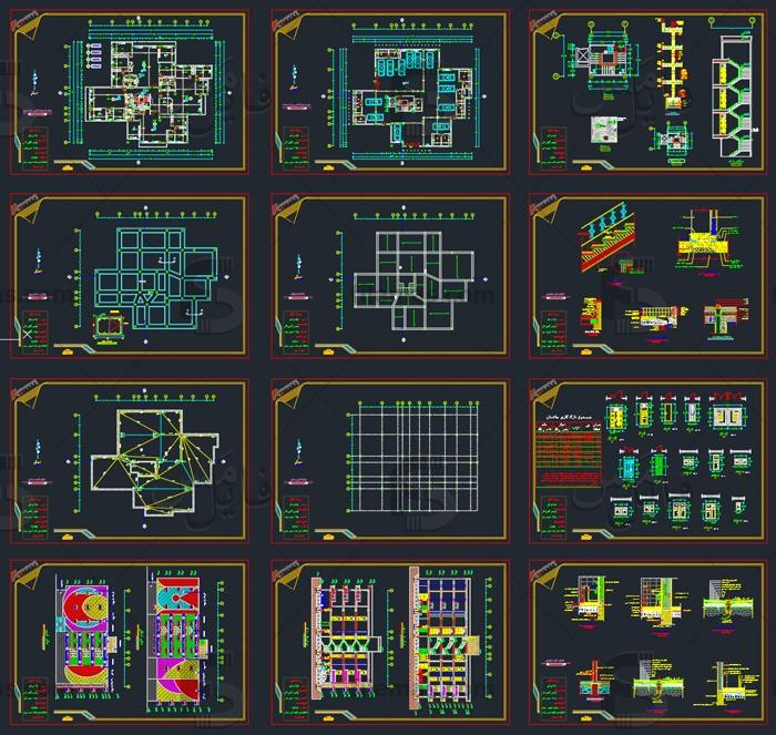 پروژه طراحی فنی معماری کاردانی ساختمان 4 طبقه