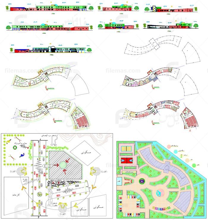 پلان اتوکد فرهنگسرا دو طبقه همراه با تحلیل سایت