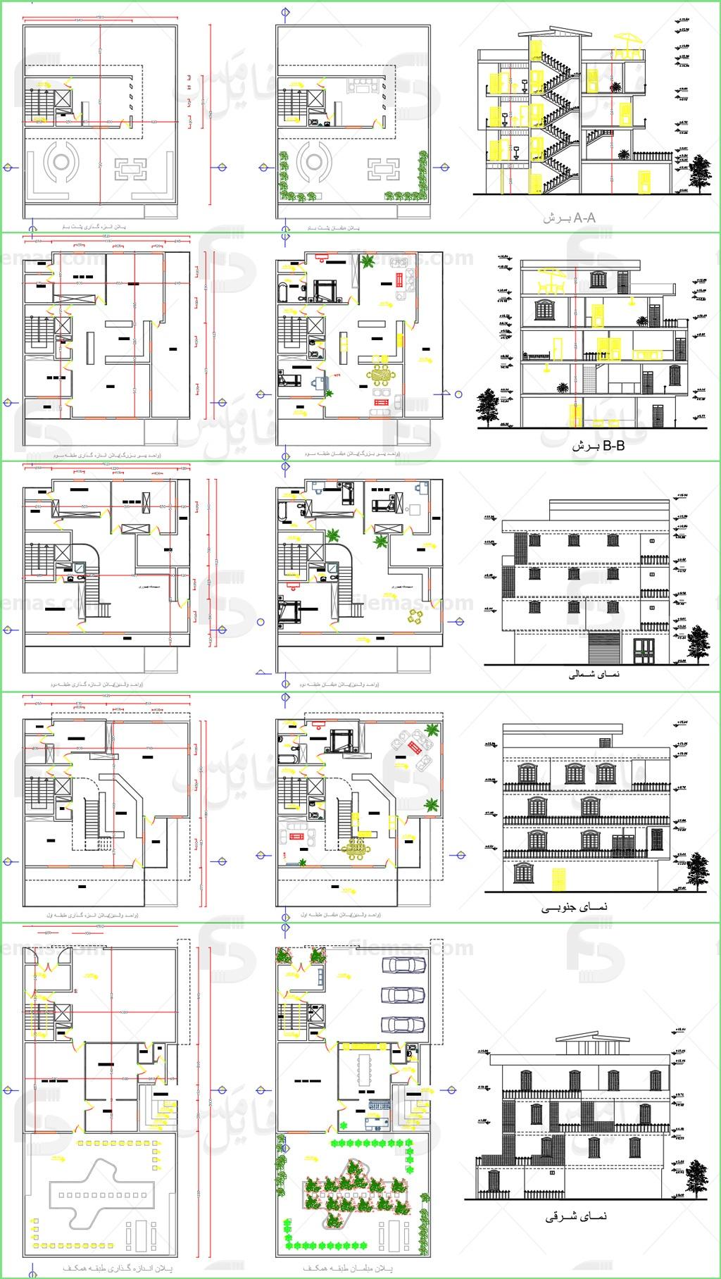 پروژه طرح 2 طراحی نقشه ساختمان مسکونی دوبلکس