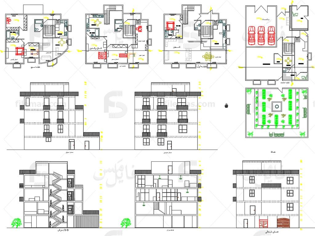 پیشنمایش پلان طراحی خانه دوبلکس 200 متری - پروژه طرح 2 معماری