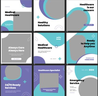 9 طرح لایه باز قالب پست اینستاگرام پزشکی و بهداشتی